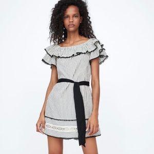 ZARA Off The Shoulder Ruffle Mini Dress